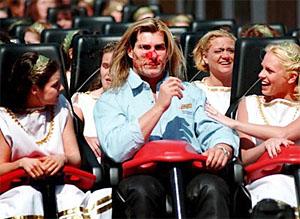 Fabio at Busch Gardens Williamsburg, famously