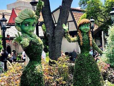 Epcot Flower & Garden Elsa & Anna topiaries