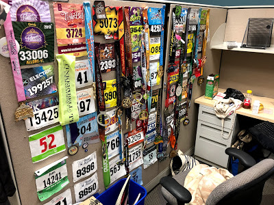 Race medals and bibs